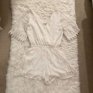 White Embellished Romper